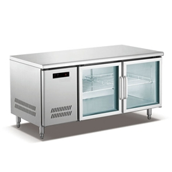 QB1 Stainless Steel Undercounter Refrigerator/Freezer with Glass Doors