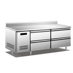 QB Stainless Steel Undercounter Undercounter Refrigerator/Freezer with Drawers and Back Splash